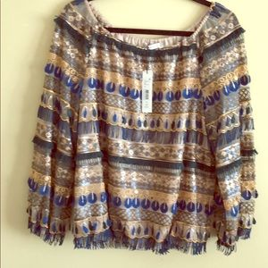 ALICE & OLIVIA Sequin Shirt - Off the Shoulder